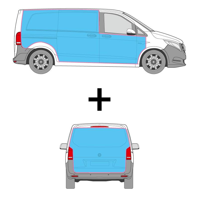 Kastenwagen Fahrzeugbeschriftung auf den Seitenflächen und dem Heck