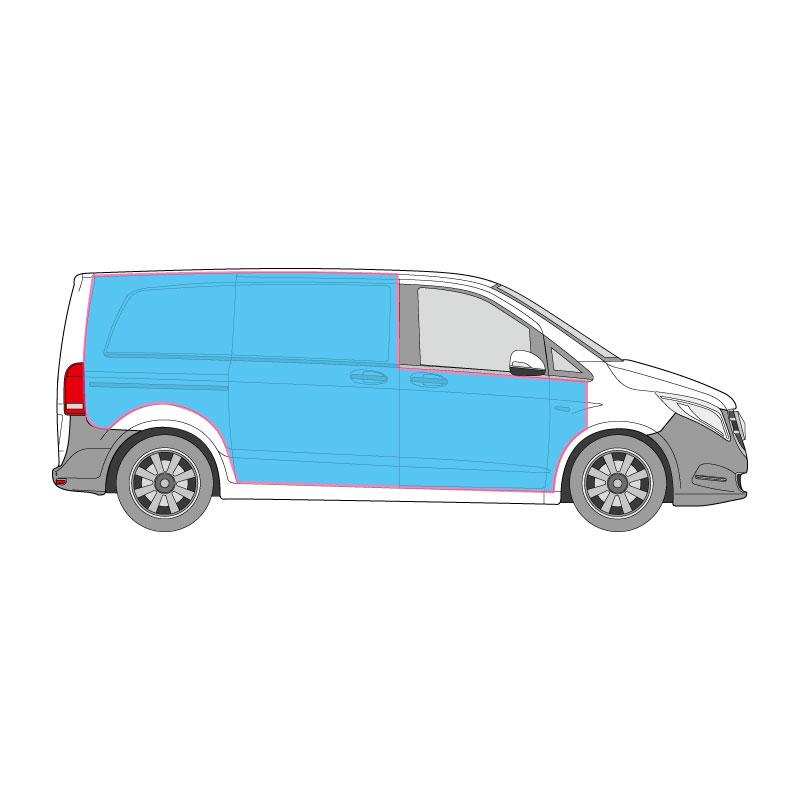 Kastenwagen Fahrzeugbeschriftung auf den Seitenflächen