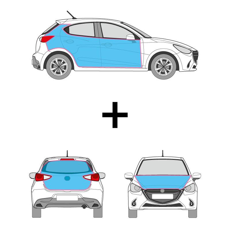 PKW Fahrzeugbeschriftung auf den Seitenflächen, Heck, Heckscheibe und Motorhaube