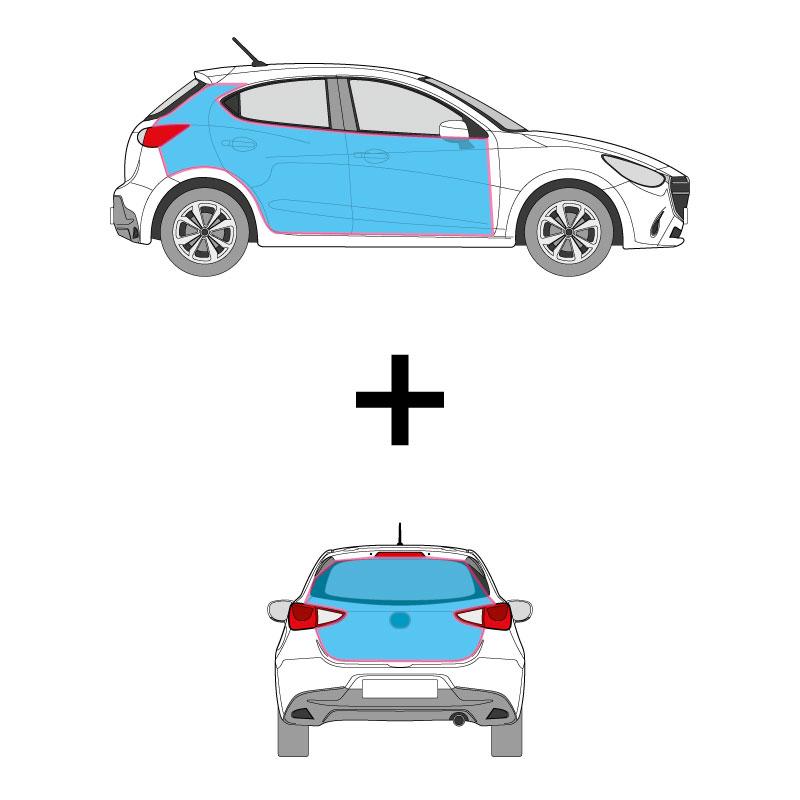 PKW Fahrzeugbeschriftung auf den Seitenflächen un dem Heck