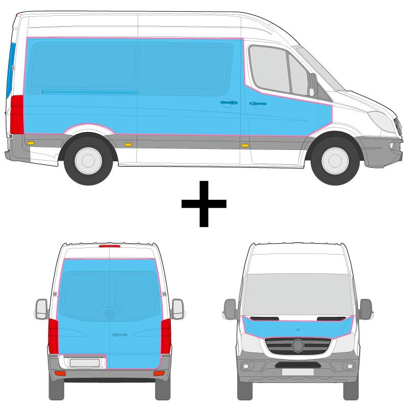 Transporter Fahrzeugbeschriftung an den Seiten, Heck und Haube